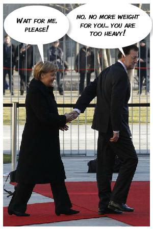 Rajoy guiando a Merkel